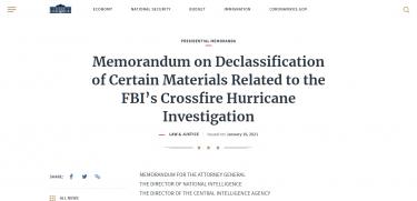 ホワイトハウス声明:クロスファイアーハリケーン関連資料の機密解除について